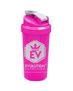 Coqueteleira Evolution Nutrition Rosa com Glitter
